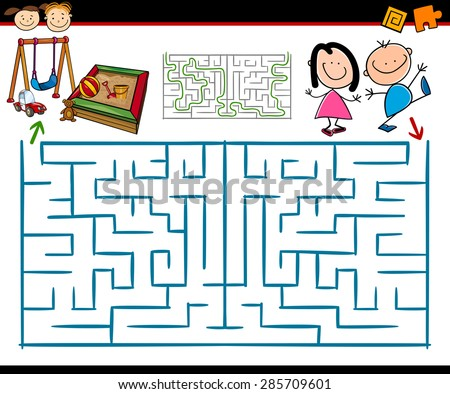 Cartoon Illustration of Education Maze or Labyrinth Game for Preschool Children with Playground - stock photo