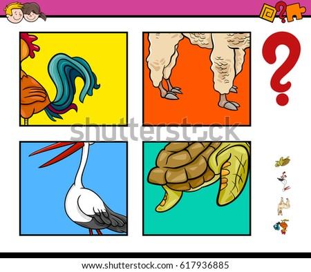 Cartoon Illustration of Educational Activity Game of Guessing Animals for Children