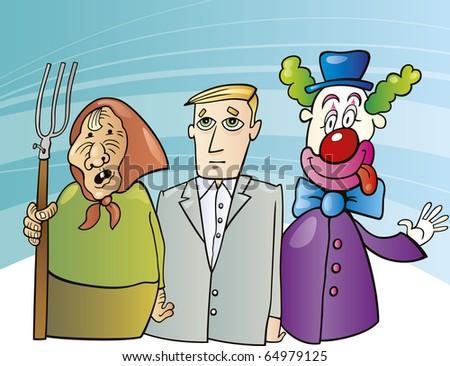 cartoon illustration of farmer woman, businessman and clown - stock photo