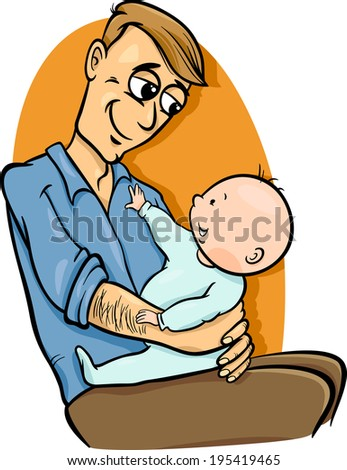 Cartoon Illustration of Father with his Cute Baby - stock photo