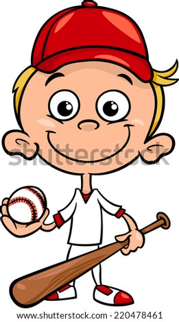 Cartoon Illustration of Funny Boy Baseball Player with Bat and Ball - stock photo