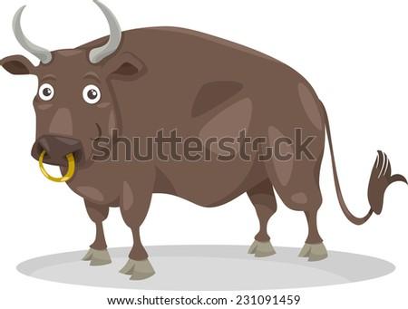 Cartoon Illustration of Funny Bull Farm Animal - stock photo