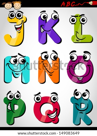 Cartoon Illustration of Funny Capital Letters Alphabet from J to R for Children Education