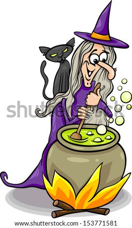 Cartoon Illustration of Funny Fantasy or Halloween Witch with Black Cat Cooking a Magic Mixture - stock photo