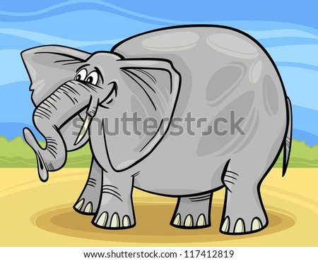 Cartoon Illustration of Funny Gray African Elephant