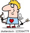 Cartoon Illustration of Funny Man in Cupid Costume with Bow and Arrow for Valentines Day - stock photo