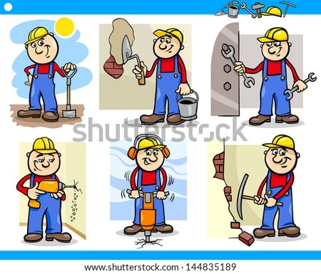 Cartoon Illustration of Funny Manual Workers or Workmen at Work Characters Set - stock photo