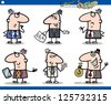 Cartoon Illustration of Funny Men or Businessmen Characters Set - stock photo