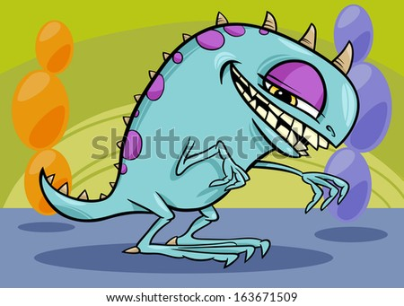 Cartoon Illustration of Funny Monster or Dragon or Fright in Fantasy World - stock photo