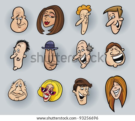cartoon illustration of funny people faces set - stock photo