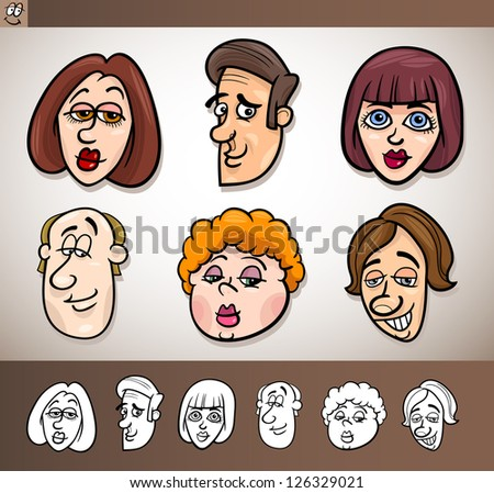 Cartoon Illustration of Funny People Set with Men and Women Heads plus Black and White versions - stock photo