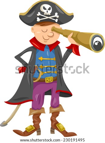 Cartoon Illustration of Funny Pirate or Corsair Captain Boy with Spyglass and Jolly Roger Sign