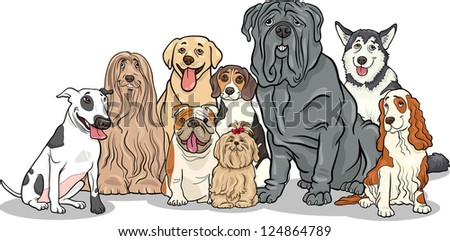 Cartoon Illustration of Funny Purebred Dogs or Puppies Group - stock photo