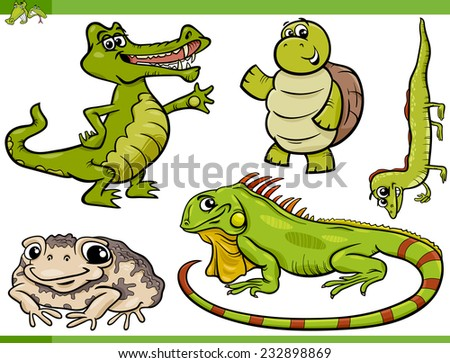 Cartoon Illustration of Funny Reptiles and Amphibians Set - stock photo