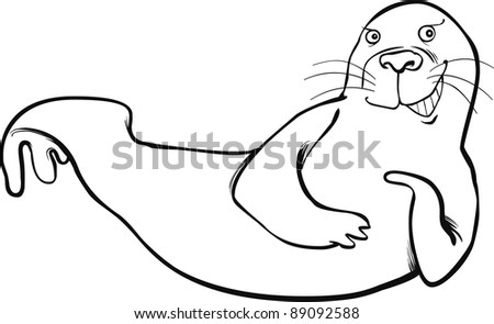 cartoon illustration of funny seal coloring page - stock photo