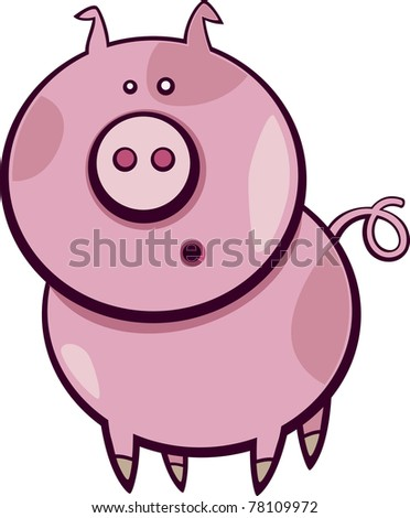 Cartoon illustration of funny surprised pig