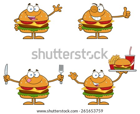 Cartoon Illustration Of Hamburger Characters 1. Raster Collection Set Isolated On White - stock photo