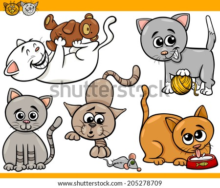 Cartoon Illustration of Happy Cats or Kittens Pets Set
