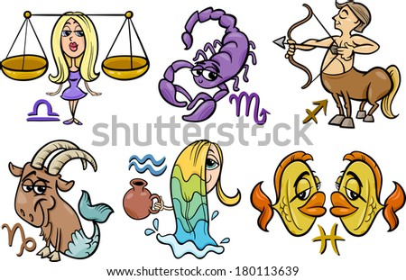 Cartoon Illustration of Horoscope Zodiac Signs Set - stock photo
