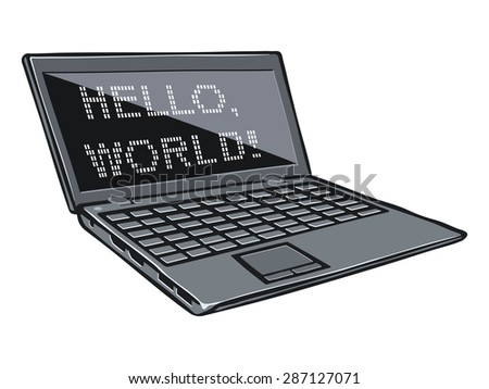 Cartoon illustration of laptop with text on its screen. Raster version