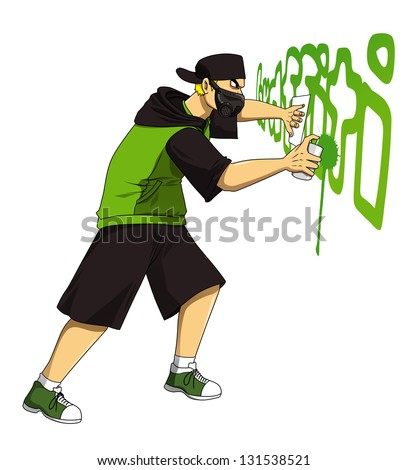 Cartoon illustration of male figure drawing graffiti using spraying can - stock photo