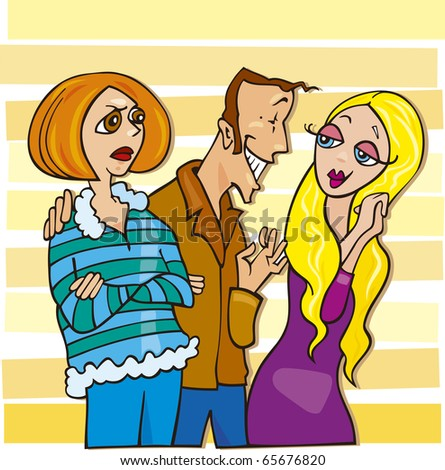 Cartoon illustration of man talking to cute blond girl and his jealous wife