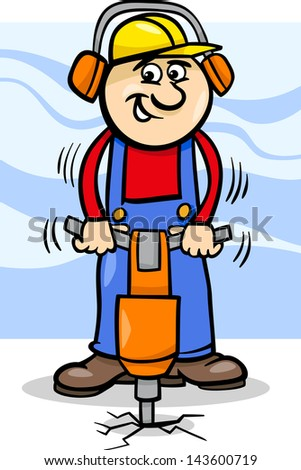 Cartoon Illustration of Man Worker or Workman with Pneumatic Hammer