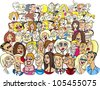 cartoon illustration of many different people in the crowd - stock