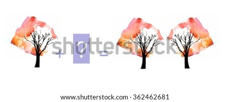 Cartoon illustration of mathematical addition. Example with trees. Educational game for children. - stock photo