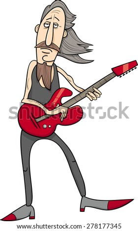 Cartoon Illustration of Old Rock Man Musician with Electric Guitar