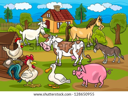 Cartoon Illustration of Rural Scene with Farm Animals Livestock Big Group - stock photo