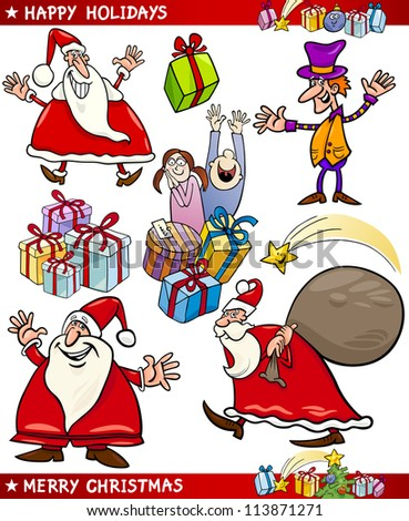 Cartoon Illustration of Santa Claus or Papa Noel, Elf, Presents and other Christmas Themes set