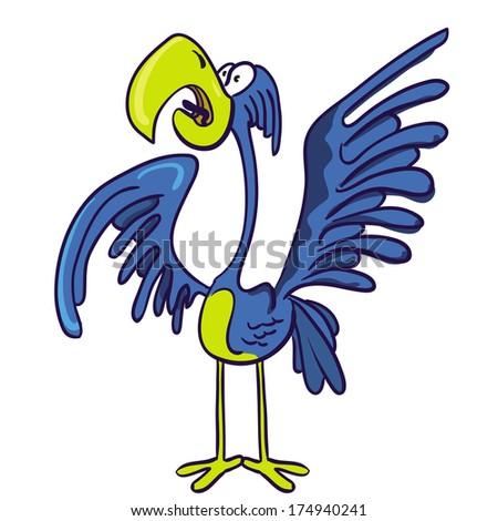 cartoon illustration of screaming bird - stock photo