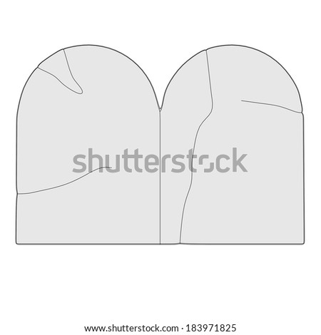 cartoon illustration of stone tablets - stock photo