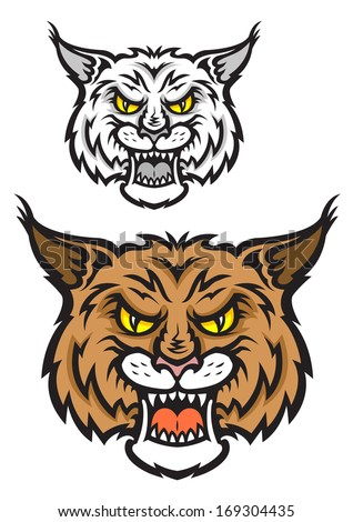 Cartoon illustration of the head logo of a snarling bobcat facing forwards baring its teeth and staring balefully at the viewer isolated on white. Vector version also available in gallery - stock photo