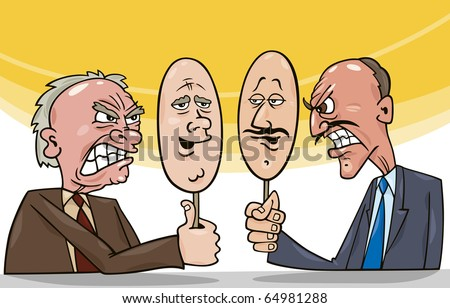 cartoon illustration of two antagonist politicians talking on television - stock photo