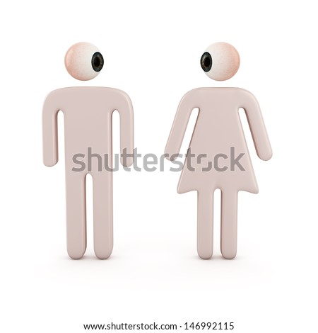 Cartoon illustration of two figures of a man and woman with an eyeball for a head standing facing forward with their heads turned eyeballing each other - stock photo