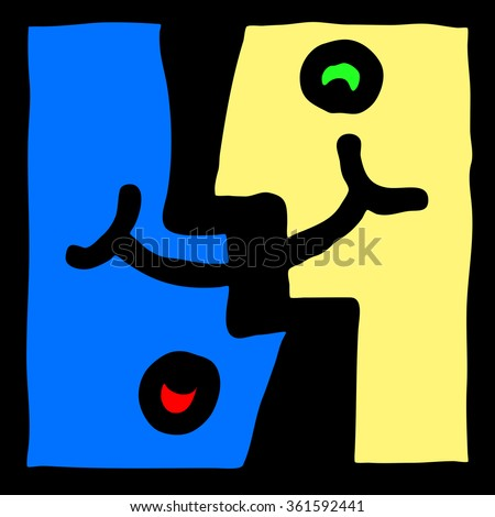 Cartoon illustration of two interlocking face with a co-joint smile and frown for the concept of bipolar disorder. - stock photo