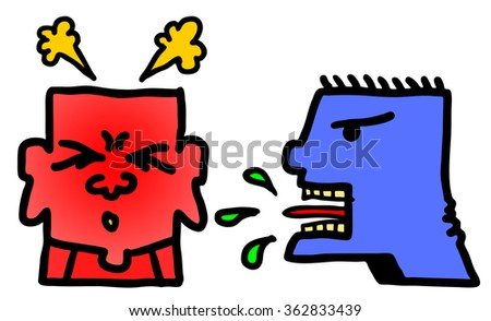 Cartoon illustration of two man arguing for the concept of disagreement.  - stock photo
