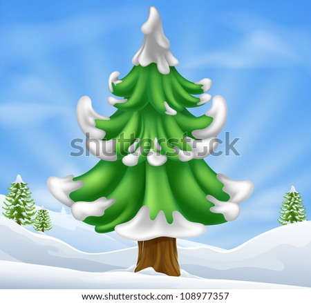 Cartoon illustration of winter scene and Christmas tree