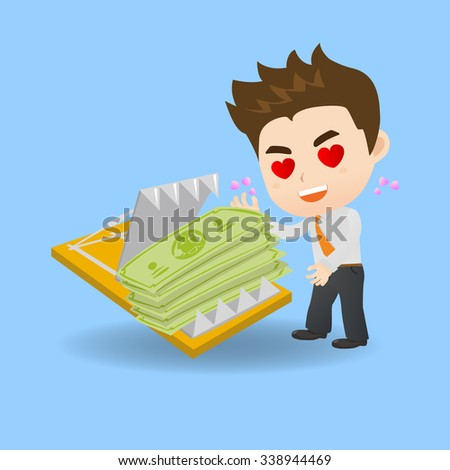 cartoon illustration set of Business man is tempted to earn money by dangerous investment, fall into the trap - stock photo
