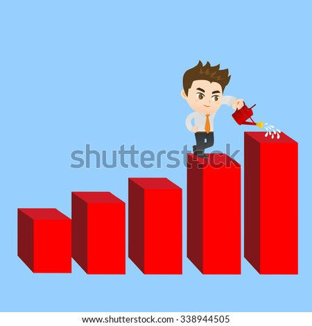 cartoon illustration set of Business man shows sale growth, gaph