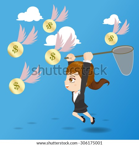 cartoon illustration set of businesswoman catching money in the air - stock photo