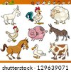 Cartoon Illustration Set of Cheerful Farm and Livestock Animals isolated on White - stock vector