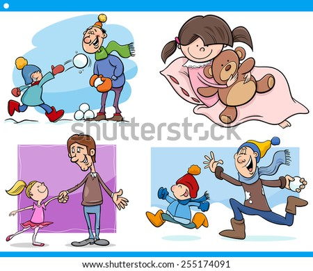 Cartoon Illustration Set of Fathers with Children - stock photo