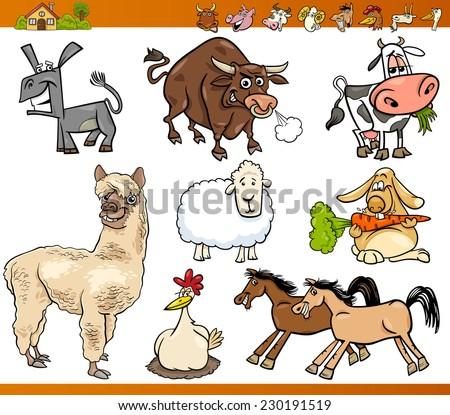 Cartoon Illustration Set of Funny Farm Animals Characters - stock photo