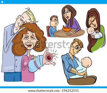 Cartoon Illustration Set of Parents with Children and Babies - stock photo