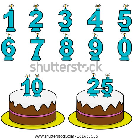 Cartoon illustration showing a cake and candles from 0 to 9 to form different numbers - stock photo