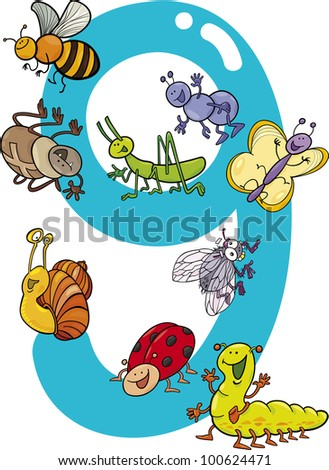 cartoon illustration with number nine and different insects