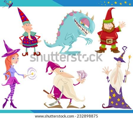 Cartoon Illustrations Set of Fairytale or Fantasy Characters - stock photo